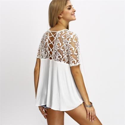 Solid Color Short-Sleeved White Shi..
