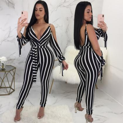 Women'S Sexy V-Neck Jumpsuit