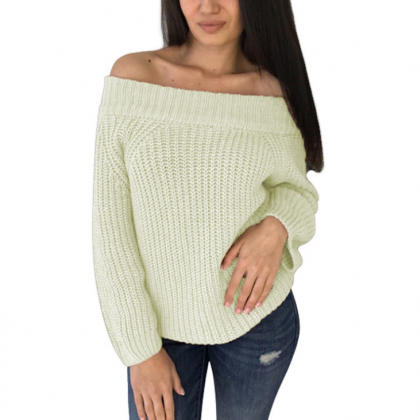 Solid Color Knit Long Sleeve Off-Th..
