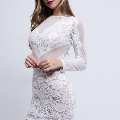 Sexy White Long Sleeve Lace Halter ..