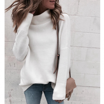 Fashion High-Necked Long-Sleeved Kn..