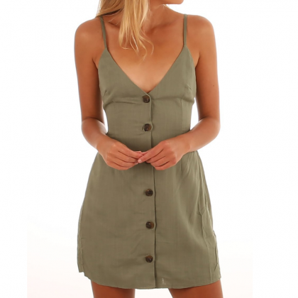 Sling V-Neck Button Sleeveless Dres..