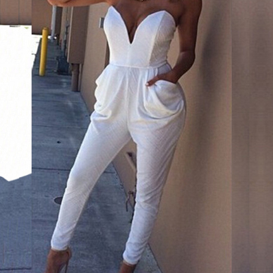 Chic One Piece Strapless White Jumpsuit With Pockets DGH03M