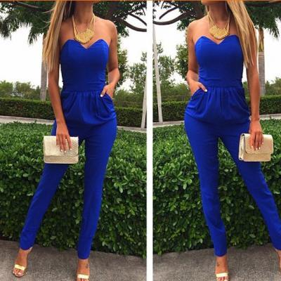 Cheap Sexy Strapless Off The Shoulder Sleeveless Pockets Design Solid Blue Cotton Blend One-Piece Skinny Jumpsuit [JH01]