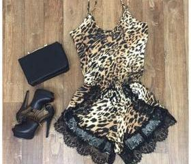 Explosion Models Leopard Straps Lace Rompers VG41617MN