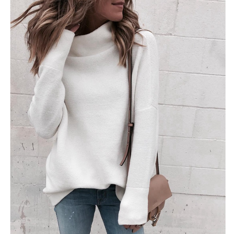 Fashion High-Necked Long-Sleeved Knit Sweater