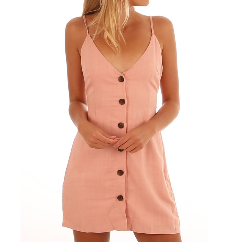 Sling V-Neck Button Sleeveless Dress