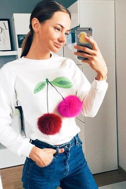 female long-sleeved white sweater printed cherry ball