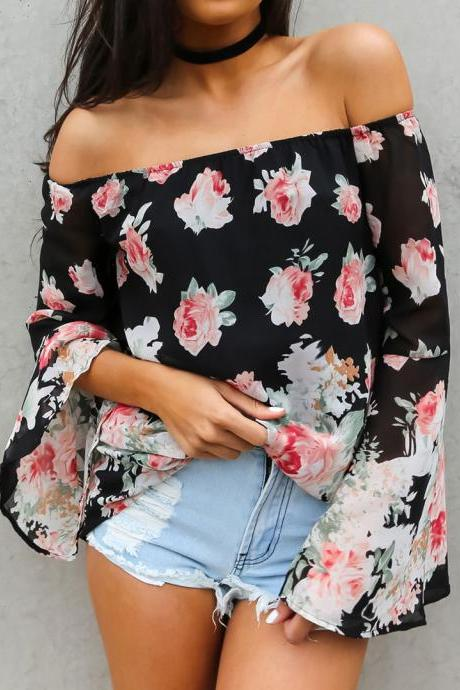 Rose Print Black Off-The-Shoulder Long Flare-Sleeved Top