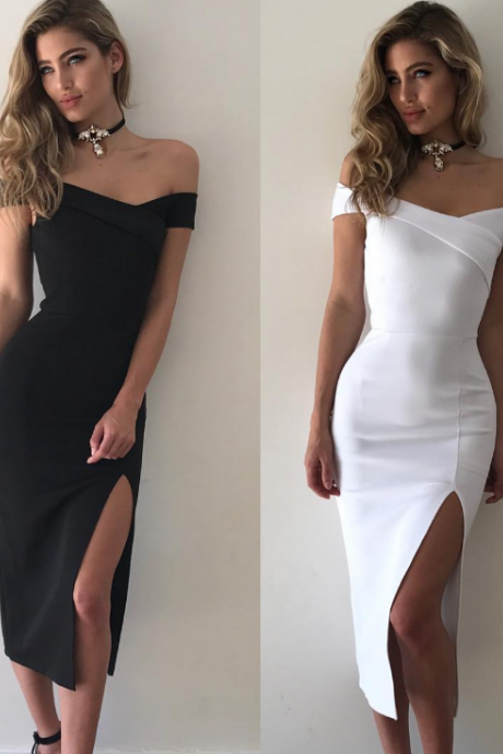 Off-The-Shoulder Midi Bodycon Dress Featuring High Slit