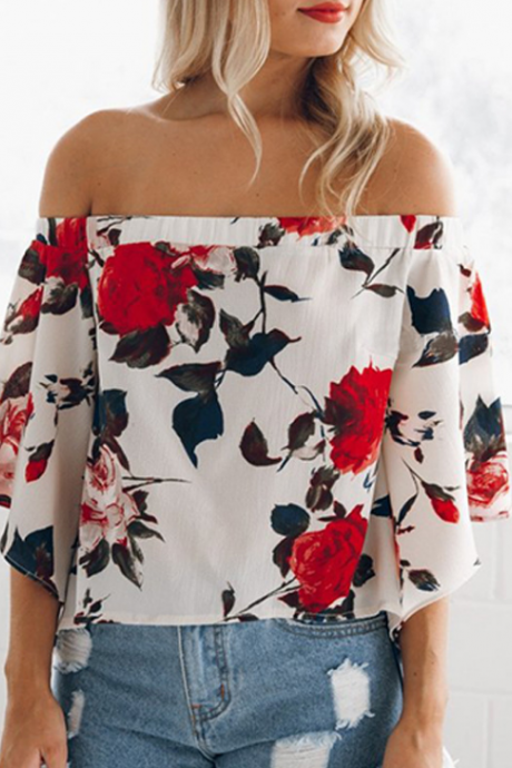 Rose Print White Off-The-Shoulder Flare-Sleeved Chiffon Top