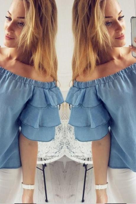 Blue Off-The-Shoulder Ruffle-Sleeved Top