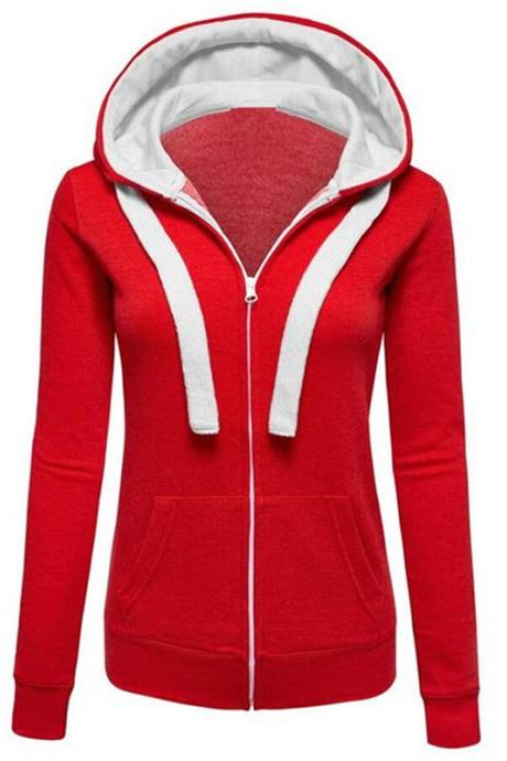 Solid Color Zipper Long-Sleeved Hooded Pocket Cardigan Jacket