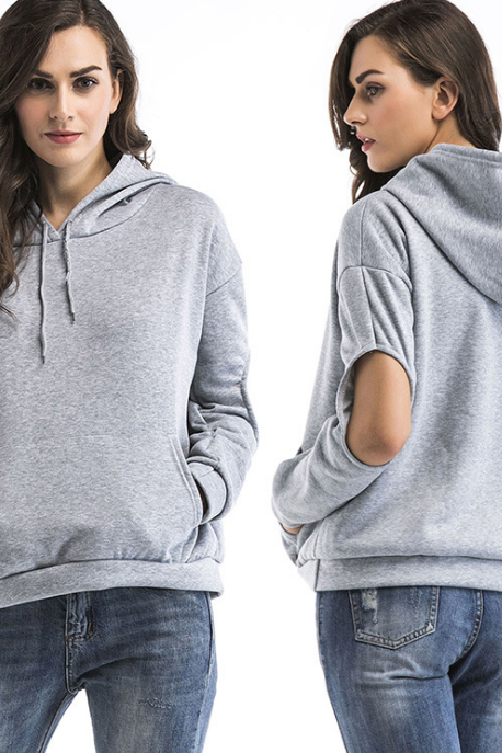 Loose Women'S Pocket Hooded Sweater