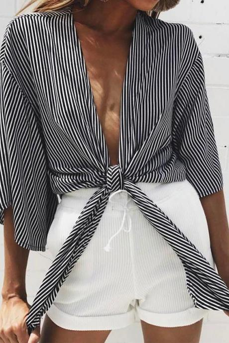 Black White Stripes Plunge V Half Sleeves Tie Front Top
