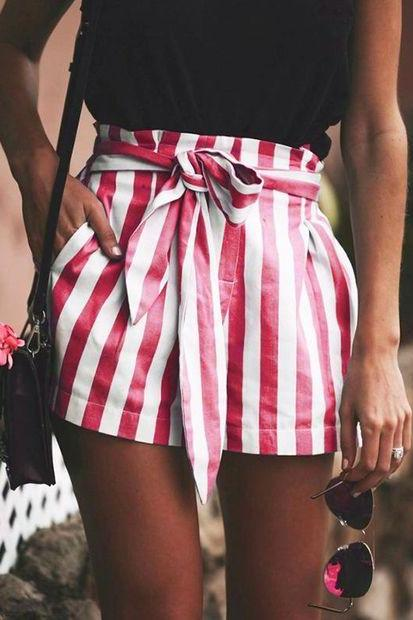 Red and White Stripes High Rise Shorts Featuring Bow Accent Tie Belt
