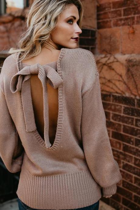 Solid Color Long Sleeve Bow Knit Sweater