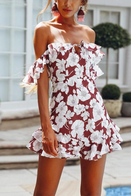 Fashion Sexy Printing Flounced Tube Top Dress