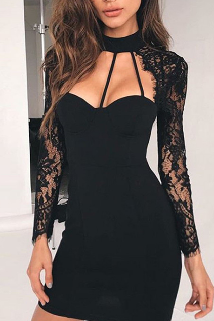 Sexy V-neck Women's Long Sleeve Lace Dress
