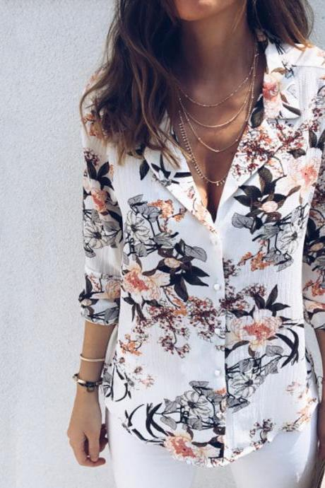 Fashion Sexy Printed V-neck Long Sleeve Shirt
