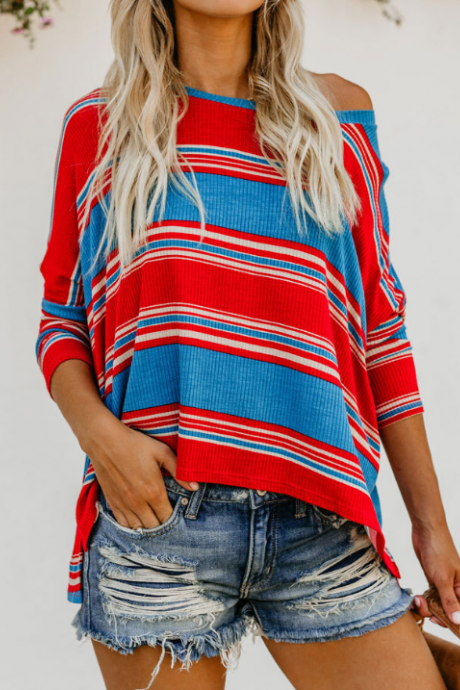 Women'S Sexy Round Neck Striped Print Sweater