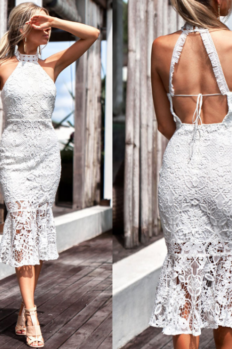 Sexy Hanging Neck Lace Halter Dress