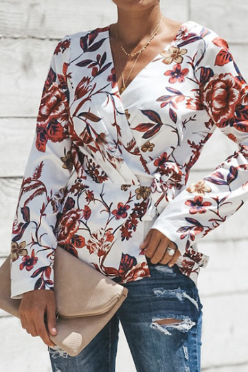 Print V-neck Chiffon Long Sleeve Shirt