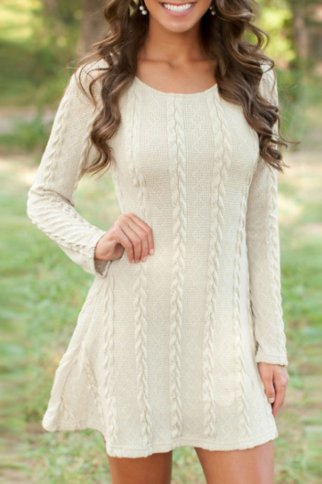 Long Sleeve Round Neck Knit Dress