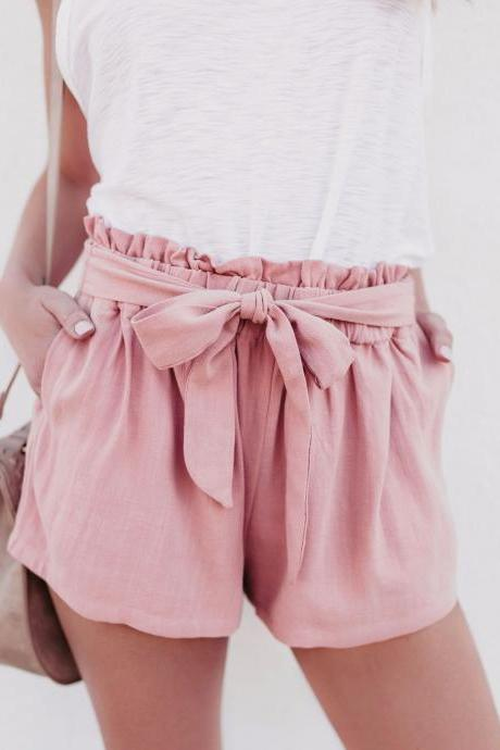 Solid Color High Waist Casual Shorts