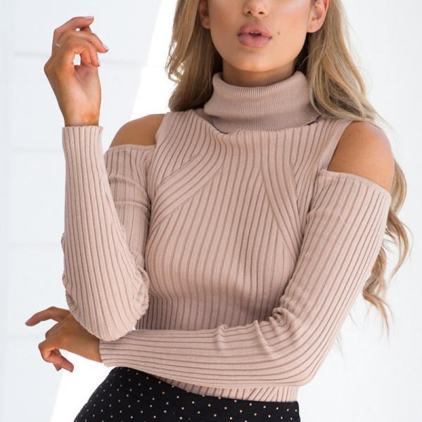 Sexy Solid Color Turtleneck Knit Sweater Tops
