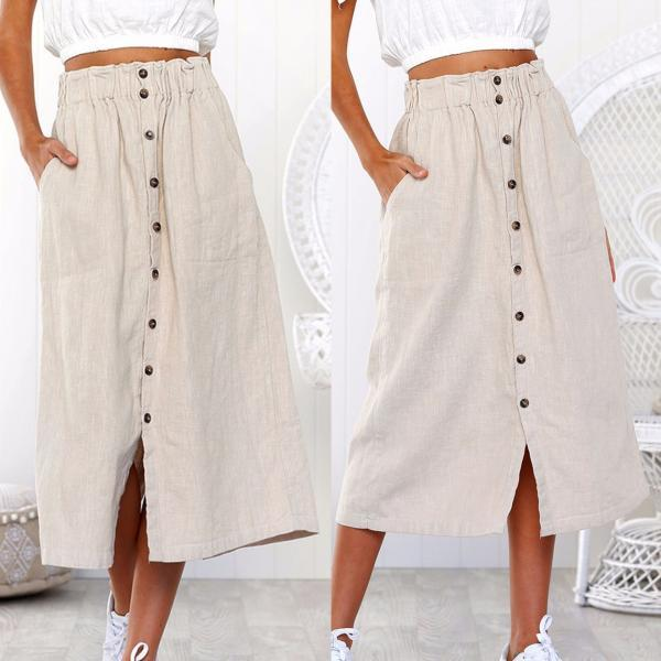 SOLID COLOR HIGH WAIST SKIRT