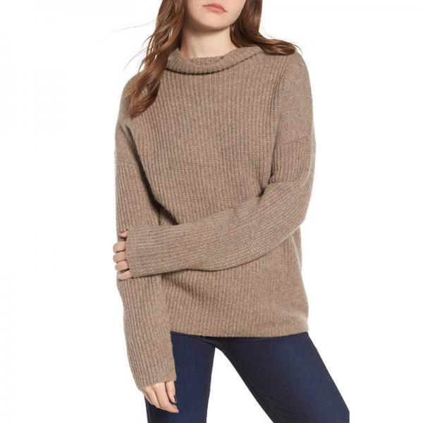 Women'S Solid Color High-Necked Long-Sleeved Sweater