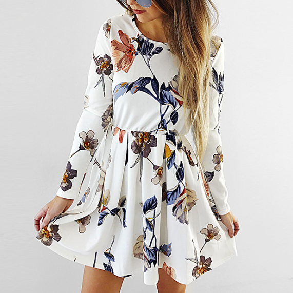Fashion Long Sleeve Print Dress