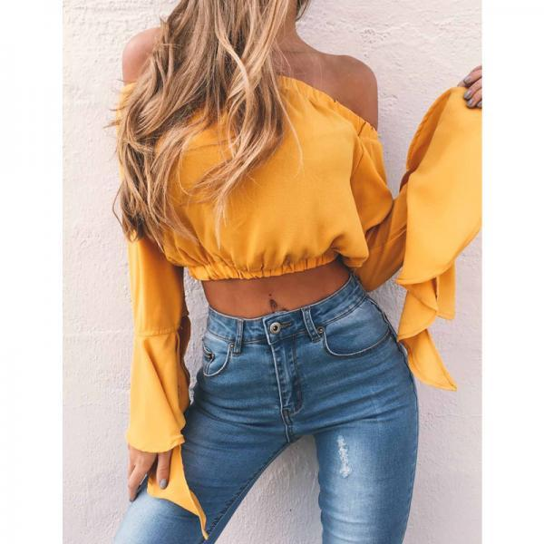 Off-The-Shoulder Sexy Chiffon Shirt Top