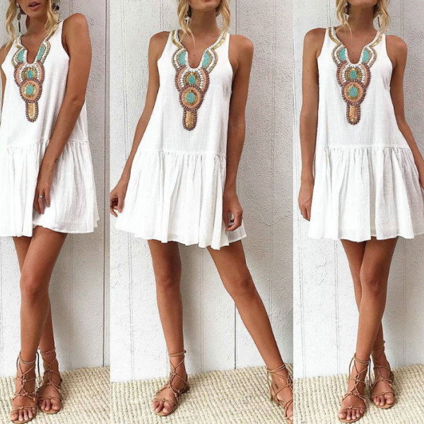 Sexy V-Neck Print Sleeveless Dress