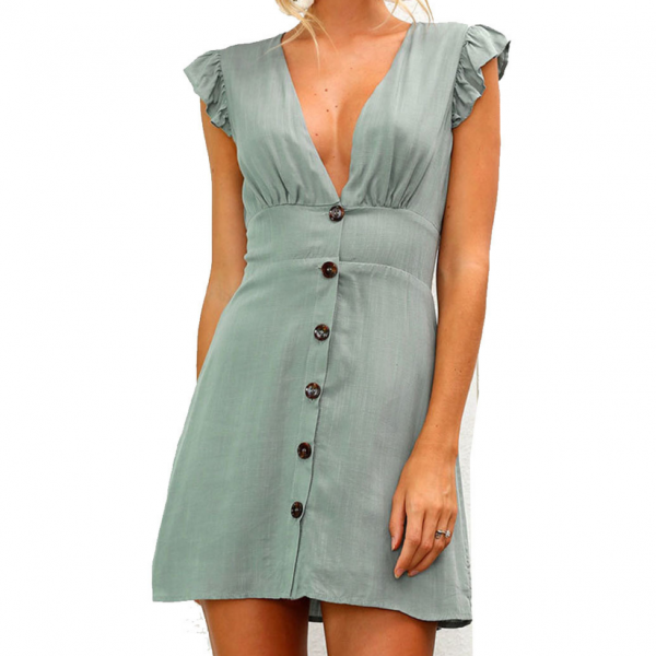 Design Sexy V-Neck Button Dress