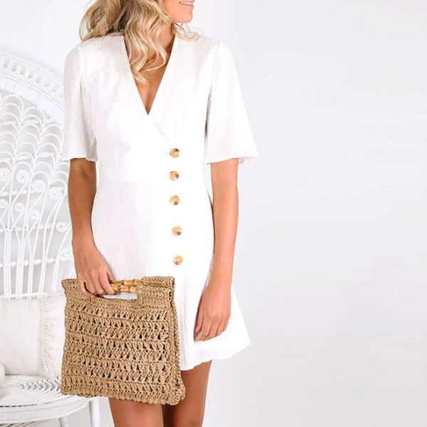 V-Neck Solid Color Buttoned Short-Sleeved Dress