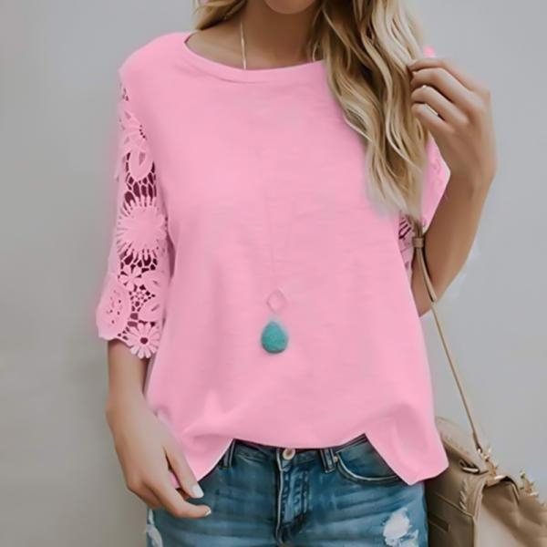 Round Neck Chiffon Solid Color Ruffled Top