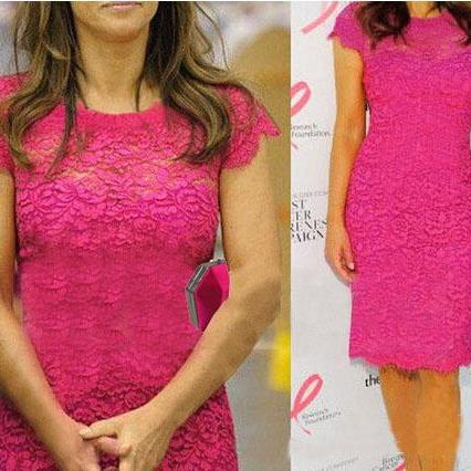 Slim lace stitching pink dress FG12410JK