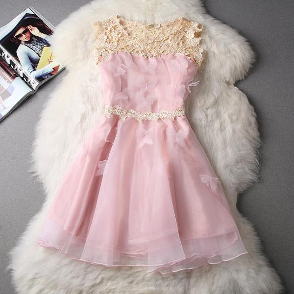 Fashion sleeveless organza princess dress XCV7N